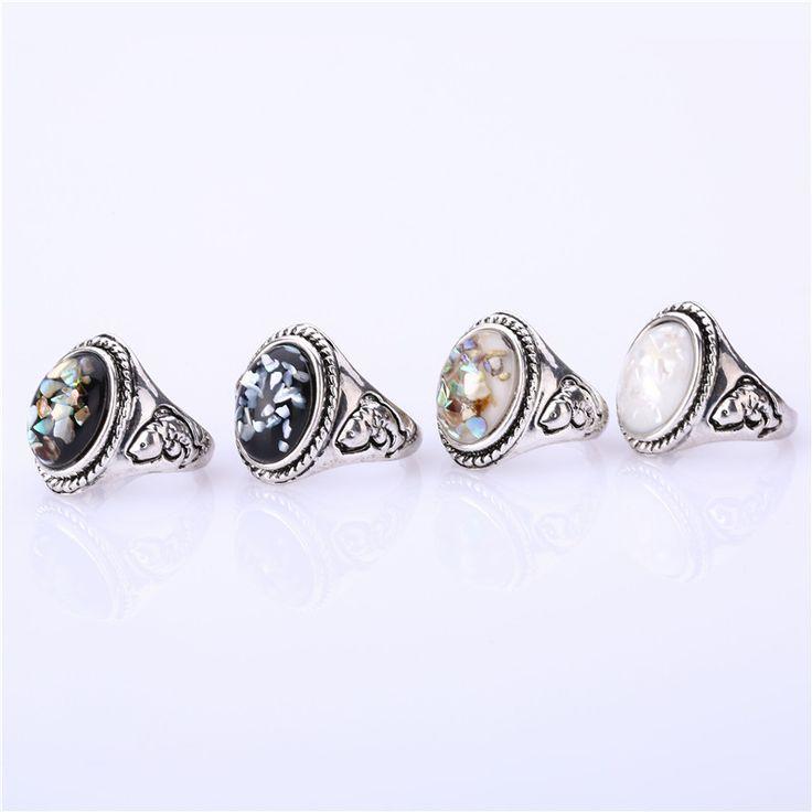 Nieuwe Mode Boho Vintage Natuurlijke Shell Leuke Grote Ringen Voor Vrouwen/mannen Punk Trouwringen Gothic Sieraden Vrouwelijke Retro Party Ring