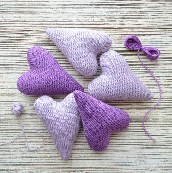 5 Knitted Heart  Decoration Heart  Violet Knitted by ProNinaKnit