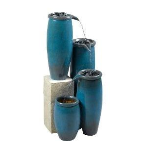 Kenroy Home Agua Indoor/Outdoor Floor Fountain in Blue Glaze Finish