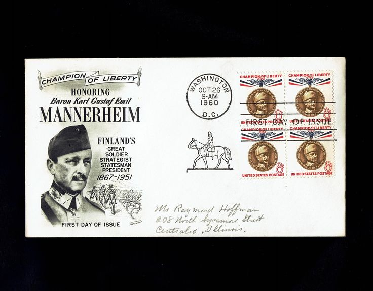 US 1166 Champion of Liberty: Gustaf Mannerheim Oct 26, 1960 Washington D.C. First Day Cover lot #F1166-1 by VicsStamps on Etsy