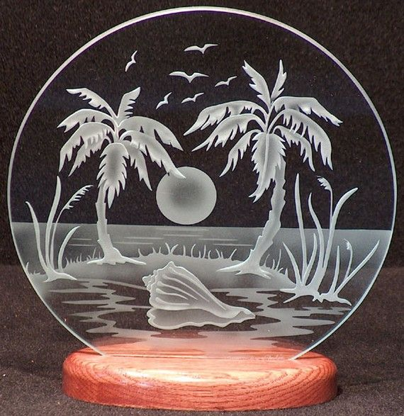Carved Glass Tropical Island 9 in. Circle in by braithwaitestudios