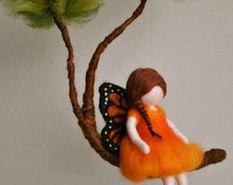 Móvil fieltro de niñas habitación decoración Waldorf por MagicWool