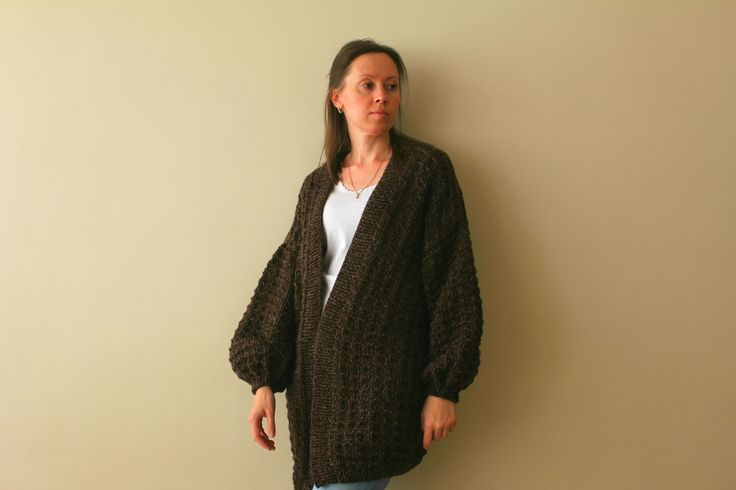 Knit Sweater Cardigan /Women's Brown Oversized Chunky Sweater Cardigan / Women's Chocolate Cardigan / Women's Sweater / Long Cardigan by GaDeCreations on Etsy
