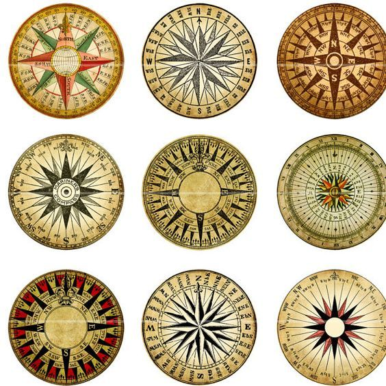 Mariner's Rose Compass digital collage sheet 1 inch by magicpug, $4.25: