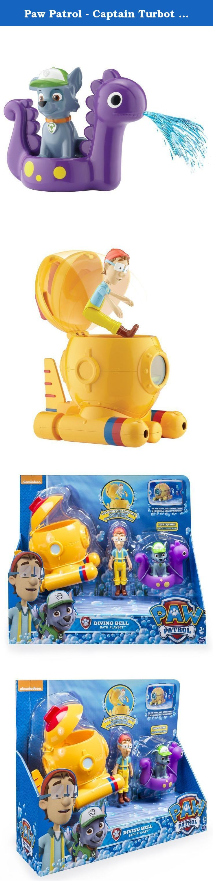 Paw Patrol - Captain Turbot Bath Playset. The Paw Patrol makes bath time more fun with the Captain Turbot Bath Playset! Recreate the underwater rescue mission where the Paw Patrol saved Captain Turbot with the included diving bell, Captain Turbot and Rocky figures, and bath squirter. The diving bell has real water pouring action, and the bath squirter fills with water and squirts it for extra fun. Save the day with Rocky and the Captain Turbot Bath Playset from Paw Patrol!.