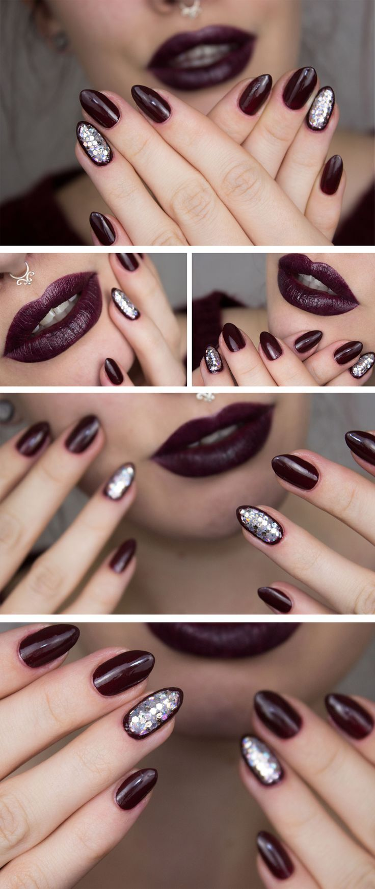 Maroon nails with silver ring accent