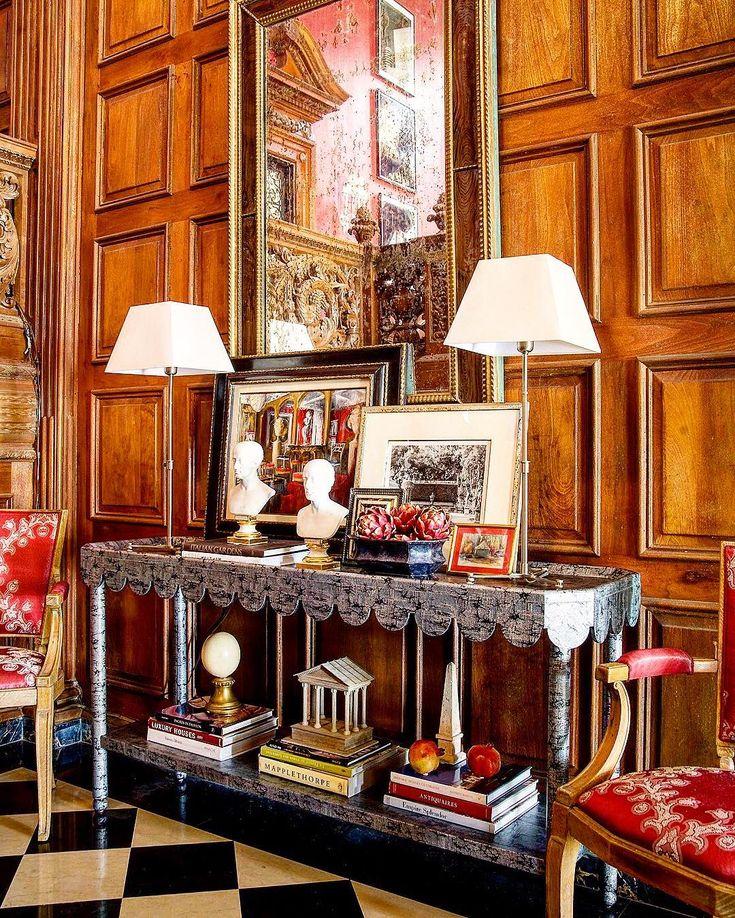Great tableaux & obelisk on the bottom shelf! Timothy Corrigan on Instagram