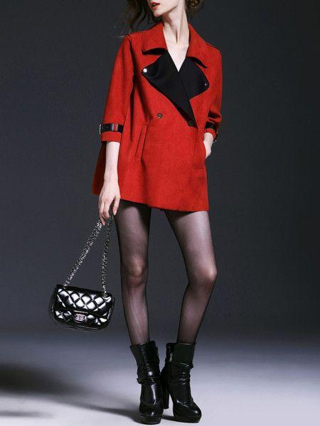 Red Paneled Suede Short coat