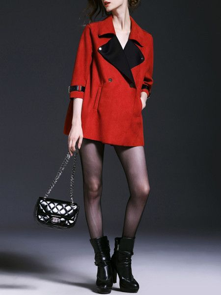 Red Paneled Suede Short coat