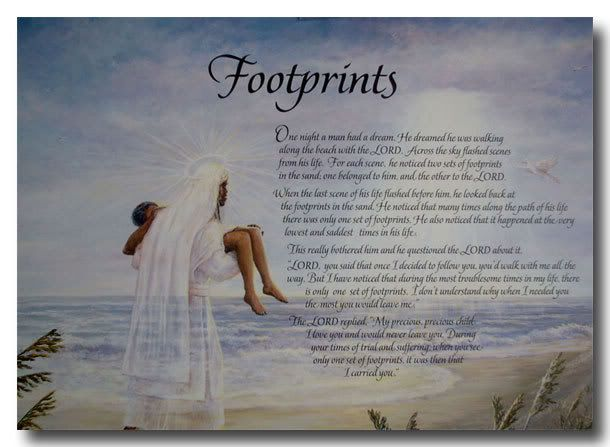 Inspirational poem footprints footprints in the sand posters and art
