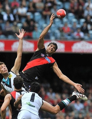 Paddy Ryder showed a clean pair of (spring) heels as he produced 46 ruck hit-outs after David Hille went down with a calf injury in Essendon's win over Port Adelaide.