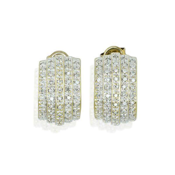 Diamant-Ohrstecker 14 kt. Gelbgold, weiß rhodiniert, mit 0,224ct Diamanten Noblesse mit zarten Steinen am Ohr: Spezielles Charisma verleihen Ihnen diese eleganten Halb-#Creolen #vintage #schmuck #ohrstecker