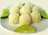 Lime Coconut Truffles  Ingredients:  •1/3 cup plus 1 tbsp cream  •zest of one lime  •1 tbsp fresh-squeezed lime juice  •1.25 cup (9 ounces) chopped white chocolate (or chips)  •pinch salt  •1/2 stick (4 tbsp) butter, cut into small pieces  •1 cup shredded coconut