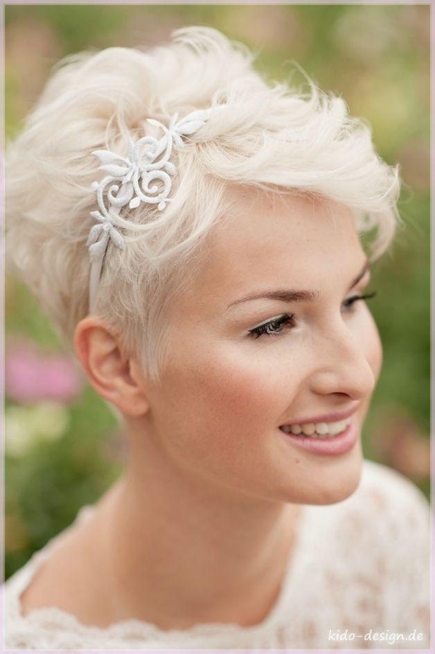 Haarschmuck für kurze Haare, Haarreif für die Braut, Hochzeit, Accessoire / bridal hair circlet, wedding accessory made by kido-design via DaWanda.com