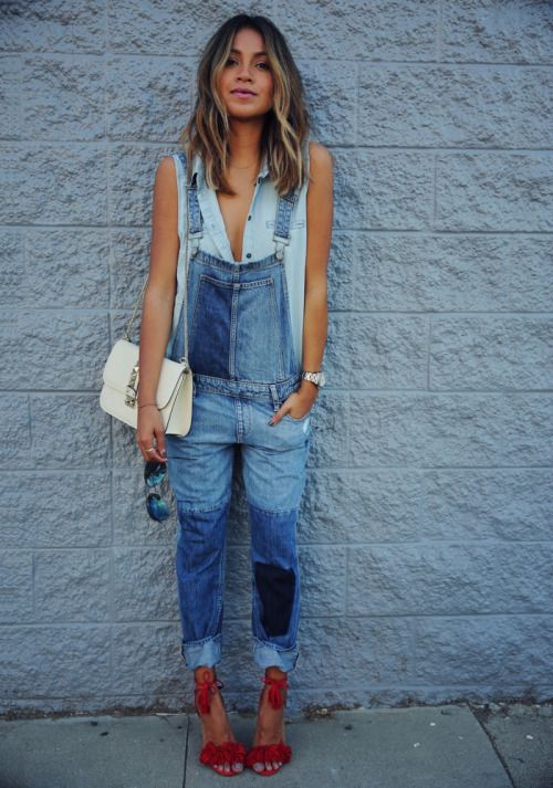 Shop this look on Lookastic:  https://lookastic.com/women/looks/sleeveless-button-down-shirt-overalls-heeled-sandals-crossbody-bag-sunglasses-watch/10285  — Blue Denim Overalls  — Beige Leather Crossbody Bag  — Light Blue Sleeveless Button Down Shirt  — Silver Watch  — Red Suede Heeled Sandals  — Black Sunglasses
