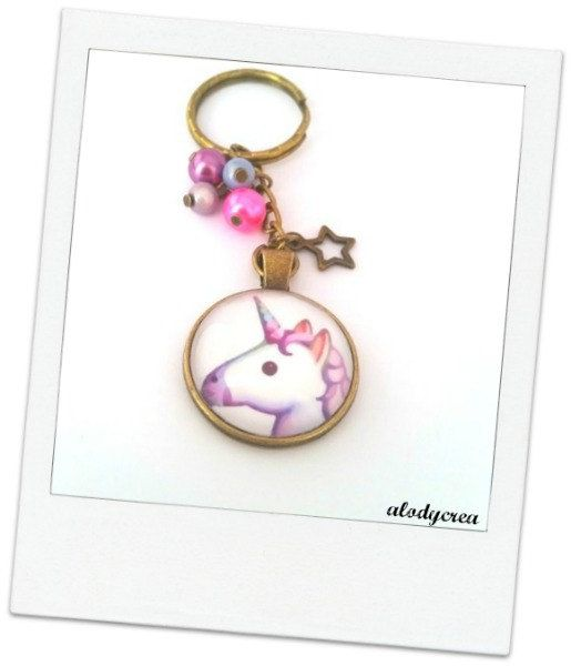 porte clés bijoux de sac licorne  bronze  cabochon  par alodycrea keyring unicorn - keychain unicorn - unicorn