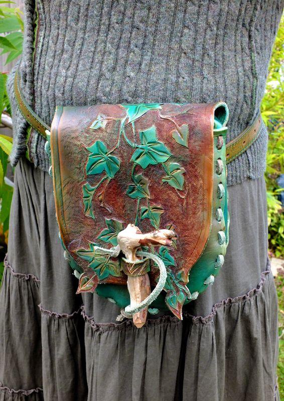 Hand made leather Ivy leaf design possibles bag.