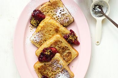 this just makes me want to have a leisurely weekend breakfast (in bed or perhaps I'd haul my ass up for a spectacularly calming view) Rhubarb sauce and French toast with a twist. French Toast Crumpets with Rhuberry Sauce - The House That Lars Built