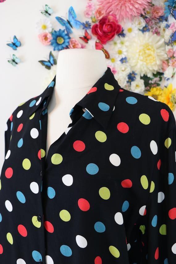 bcd40c214affb 1980s Polka Dot Shirt - Vintage Rainbow Multicoloured Polkadot Blouse - M L  - Hipster Shirt - Retro Top - Groovy Wild Funky Style