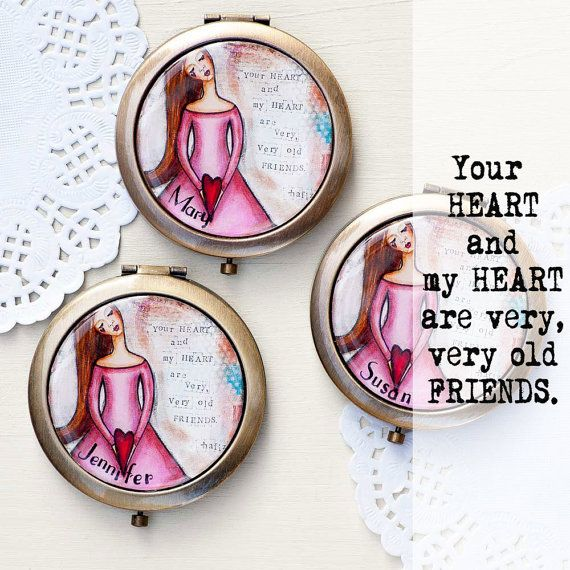 Custom Bridesmaid Gifts - Unique Bridesmaids Gifts - Inspirational Compact Mirror Set 2 or More - Personalized Bridesmaid Gifts