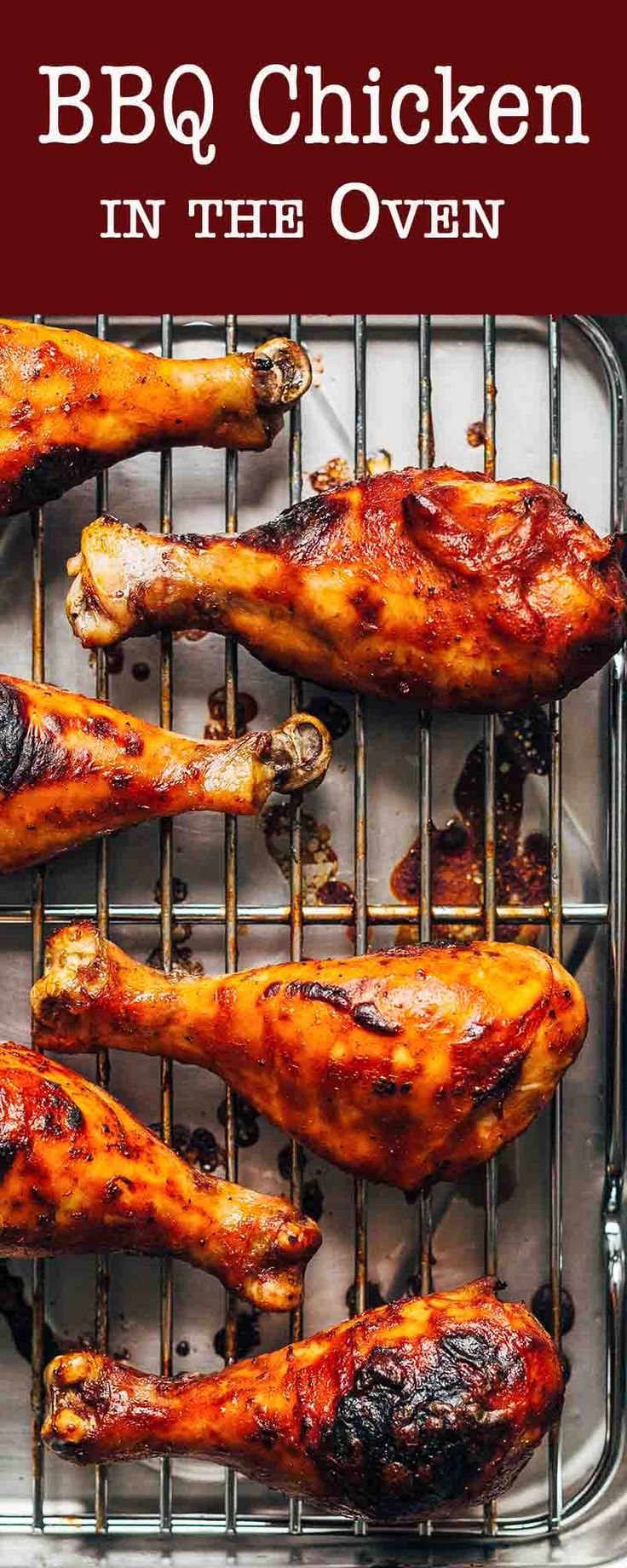 Easy BBQ Chicken in the Oven! Works with any barbecue sauce. Ready in an hour, including marinating and cook time.