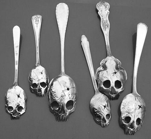 Skull spoons: Soups, Stuff, Art, Skullspoon, Sterling Silver, Silver Spoons, Skull Spoons, Vintage Silver, Halloween