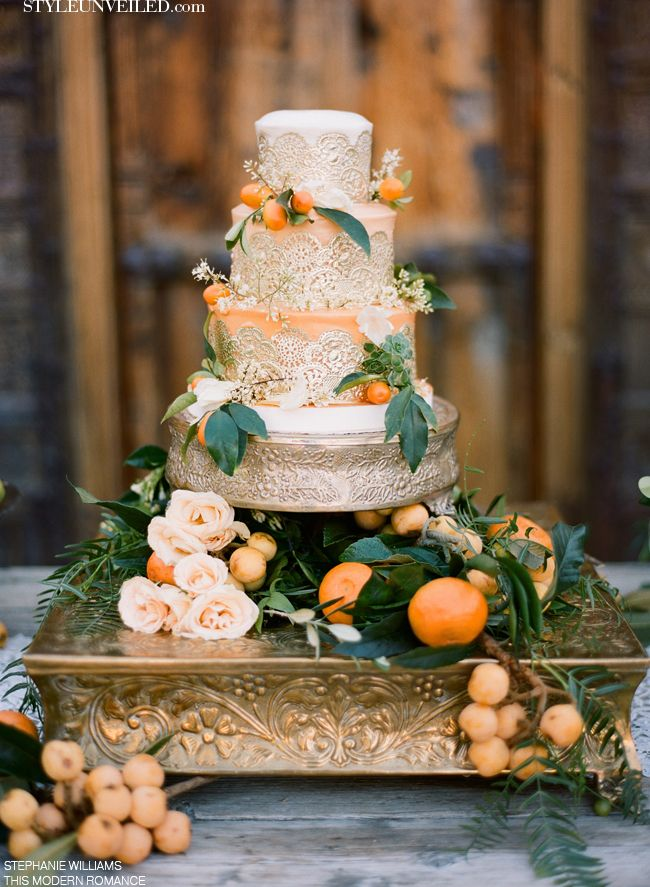 Gold + Peach Wedding Cake by Michele Coulon Dessertier