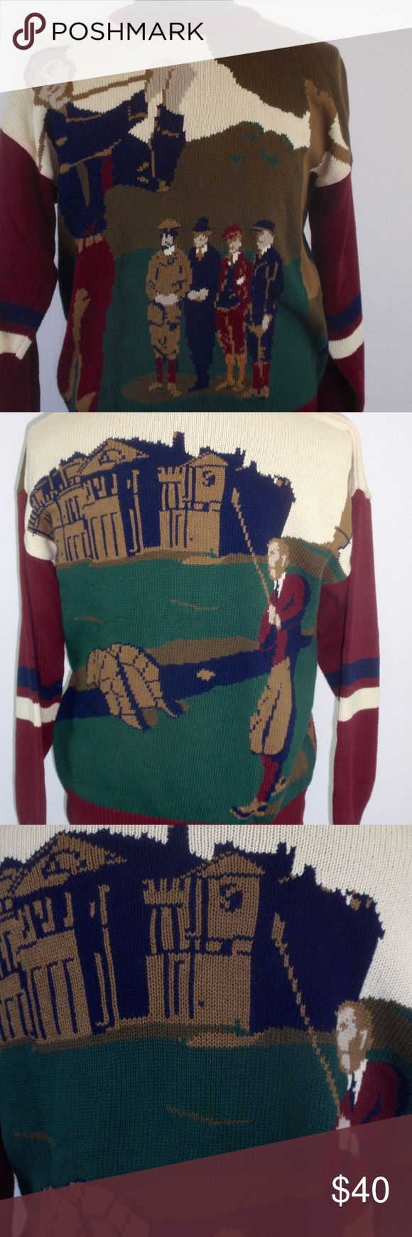 """Vintage Hand Intarsia Knit Golfers Cotton Sweater This is such a cool vintage men's golf sweater with a hand knit intarsia design of gentlemen golfing back in the day!  Maker: Hathaway Listed Size: Large  Measurements: Shoulder seam to shoulder seam :  26"""" Goes off the shoulder Armpit to armpit: 23"""" Bottom of the Collar to Hem: 27""""  Condition:  A bit of the red has bled at the collar and top of one sleeve. -  Otherwise, good pre-owned worn, used but not abused loved condition and coming from…"""