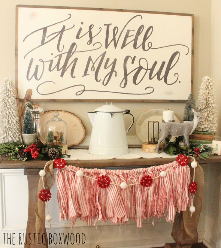 Our Farmhouse-Styled Christmas Entryway 2015 | The Rustic Boxwood blog | Kirkland's distressed console table, farmhouse style, enamelware, felt snowflake garland, ticking fabric, ironstone