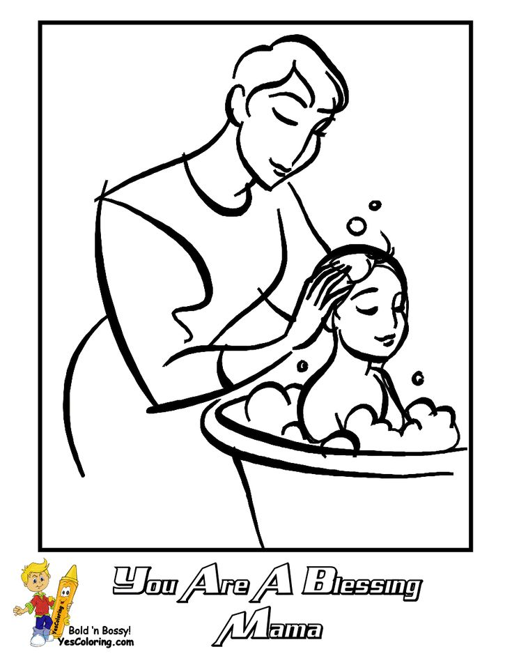 Mothers Day Coloring Page Of Mama Bathing Baby Son