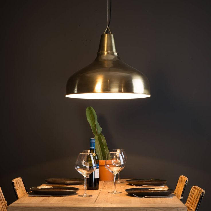 Industrial Kitchen Lights Uk: Large Industrial Brass Pendant Light