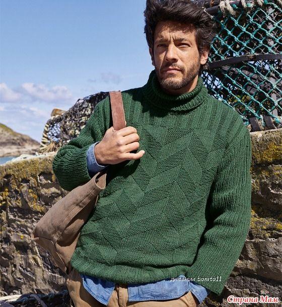 . Зеленый мужской свитер спицами