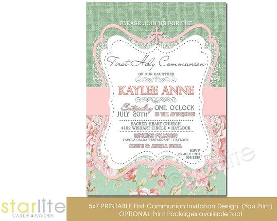First Communion Invitation  Girl  burlap lace pink by starwedd, $22.00