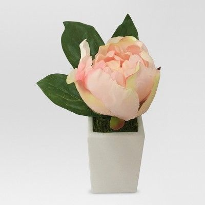 Artificial Peony Arrangement Pink in Glass - Small - Threshold™ : Target