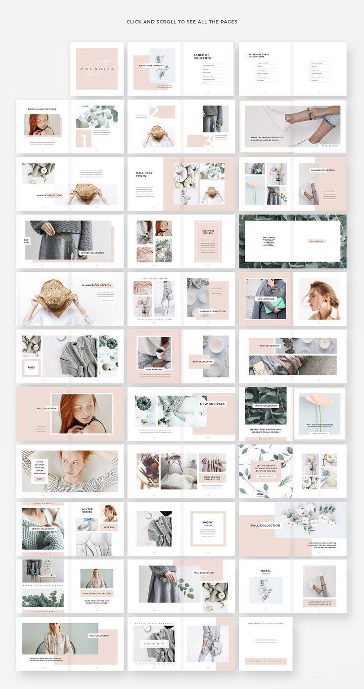 Magnolia Lookbook Template lookbook, magazine, chic, elegant, female, boss, busi...