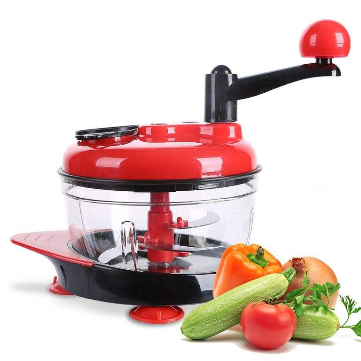 Manual Food Processor, Hand-Powered Miracle Chopper Baby Multi Vegetable Chopper Meat Grinder Fast Salsa Maker Food Mixer Blender to Chop Meat Fruits Vegetables Nuts Herbs Onions Garlics