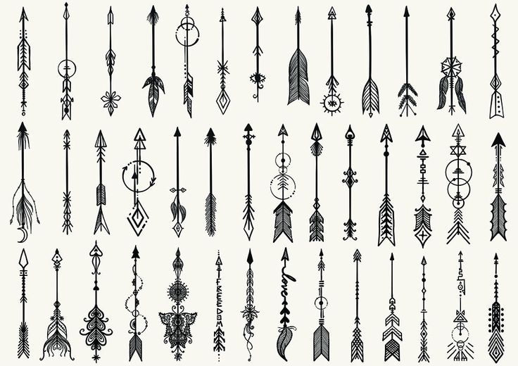 41 Hand drawn boho arrows for tattoo and design element