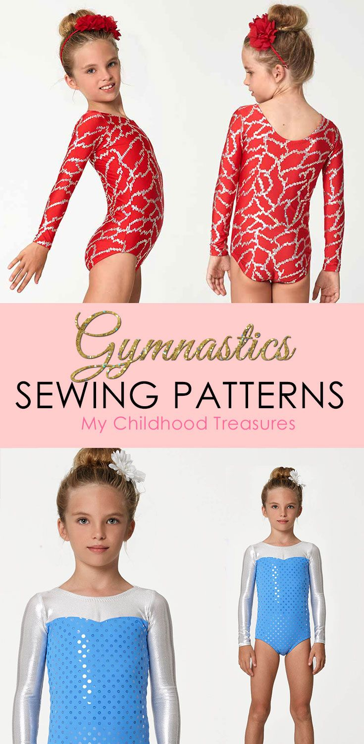 Girls gymnastics leotard sewing patterns. Easy to make with your regular sewing machine.