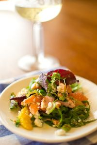 Smoked trout, ricotta and citrus salad with vanilla salad dressing. Perfect partner for Sauvignon Blanc. Image by Fritz Brand