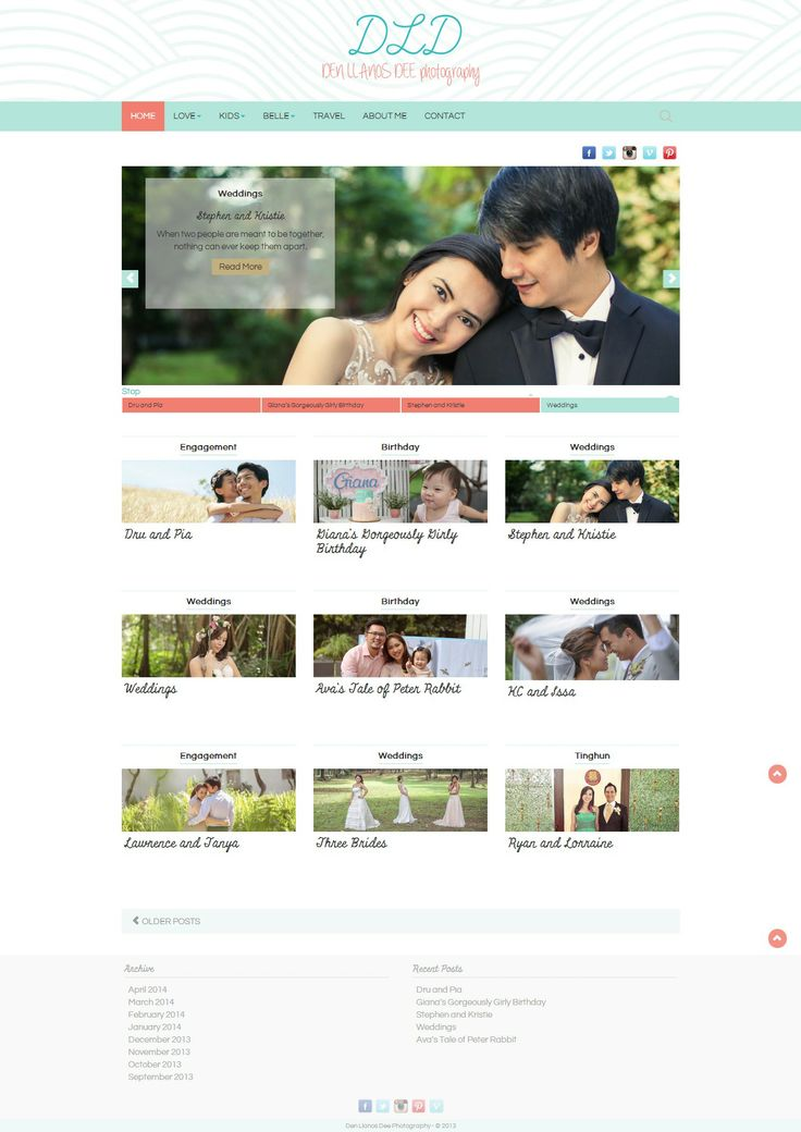 Custom WordPress theme built from scratch built for another local wedding photographer, Denise Llanos Dee.