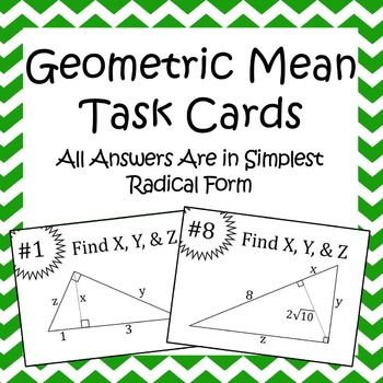 Love how cute these Geometric Mean Task cards are!  I bet my Geometry students would love these...even if they do have to simplify the radical :)