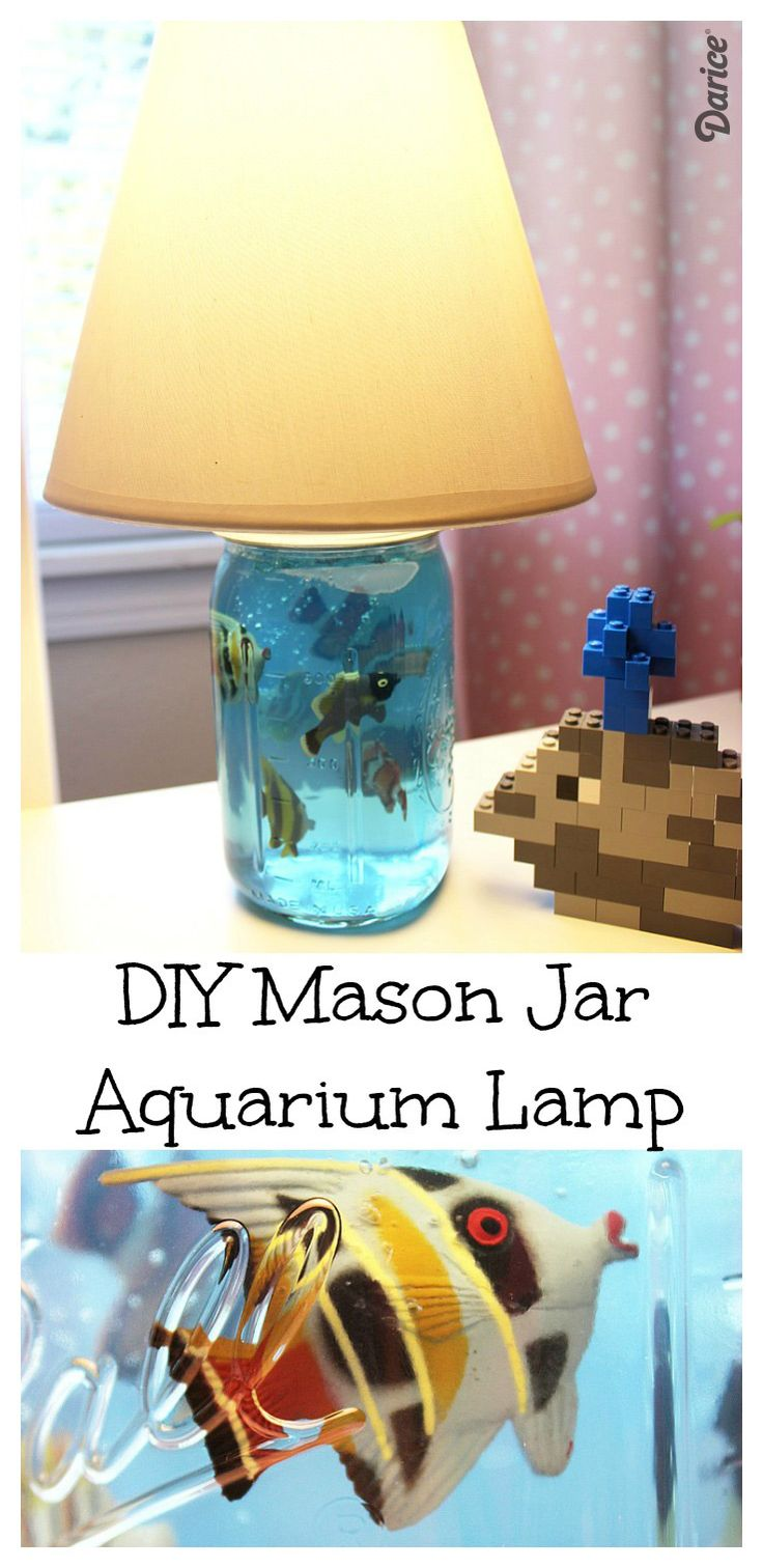 Make your own aquarium mason jar DIY lamp with this step by step tutorial! It's simple to create and looks so cool in a kid's room!