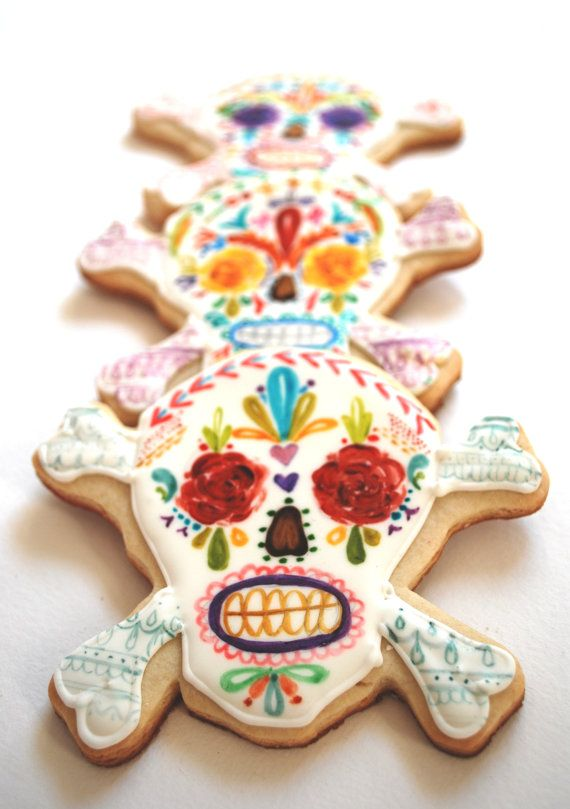 painted skull cookies by Sogis Honey Bakeshop
