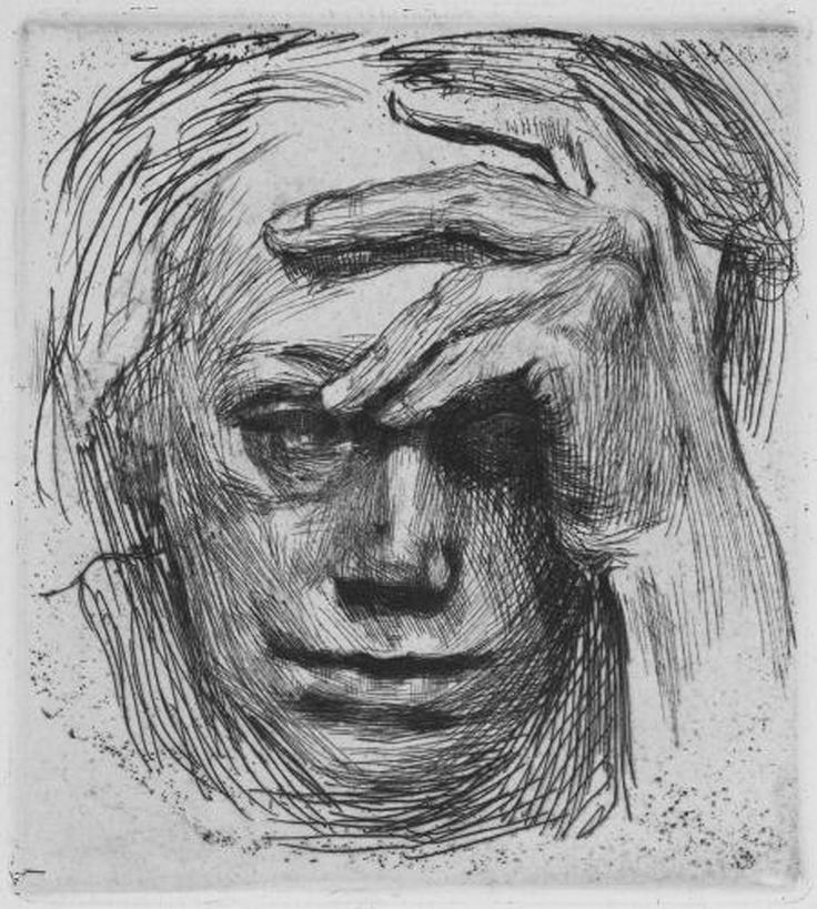 drawpaintprint:    Kathe Kollwitz: Self- Portrait with Hand on Brow (1910) Etching