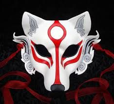 Here shows a Wolf mask has white and red colours to the mask that make it good because, of japans style.