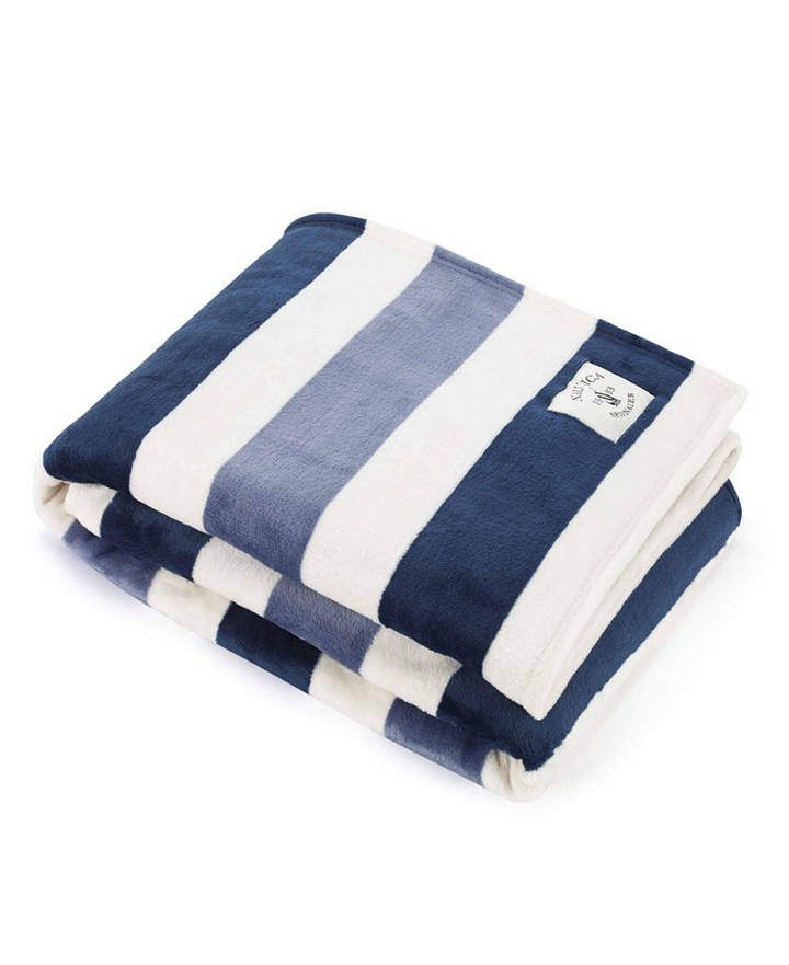 Nautica Awning Stripe Collection Throw Blankets Reviews Blankets Throws Bed Bath Macy S Striped Throw Blanket Plush Throw Blankets Plush Throw