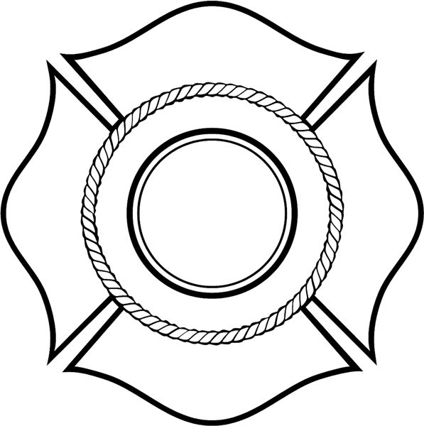 fire_dept09 - Fireman shield vinyl decal. Personalize on line.