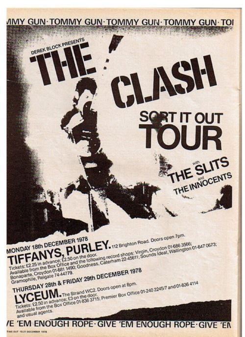 The Clash tour poster, 1978 - supported by The Slits.