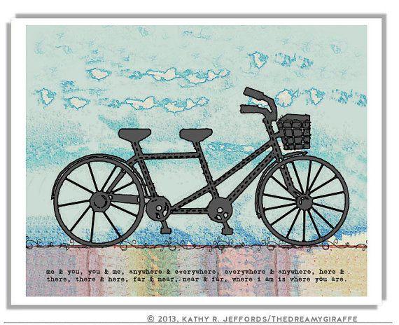 Tandem Bike Print. Tandem Bicycle Wedding Decor. Tandem Bike Art. Bicycle Built For Two Wedding Gift.  Love Quote Print. Wall Art Quote.