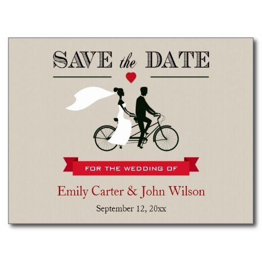 Tandem Bicycle Wedding Save the Date Postcard zazzle.co.uk